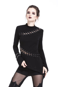 TW174 Gothic sexy lace hollow T-shirt - darkinlovecom