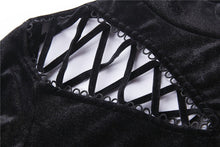 Load image into Gallery viewer, Punk side lace-up korean velvet T-shirt TW177 - Gothlolibeauty