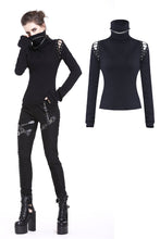 Load image into Gallery viewer, Punk lace-up shoulder vampire collar T-shirt TW178 - Gothlolibeauty