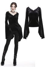 Load image into Gallery viewer, Gothic velvet floral shoulder T-shirt with big sleeves TW183 - Gothlolibeauty
