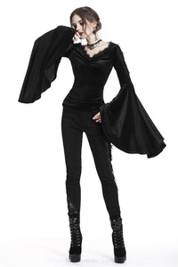 Gothic velvet floral shoulder T-shirt with big sleeves TW183 - Gothlolibeauty