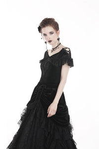 Gothic velvet short sleeves T-shirt TW185 - Gothlolibeauty
