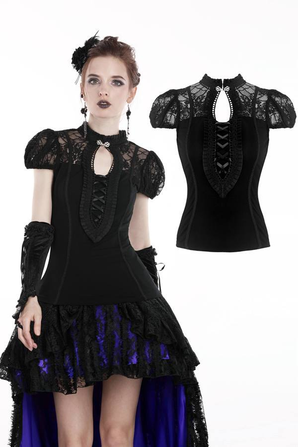 Gothic elegant lace up and hollow chest T-shirt TW193 - Gothlolibeauty