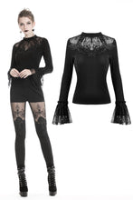 Load image into Gallery viewer, Gothic women long sleeves T-shirt with crumpled lace shoulder TW217 - Gothlolibeauty
