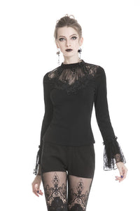 Gothic women long sleeves T-shirt with crumpled lace shoulder TW217 - Gothlolibeauty