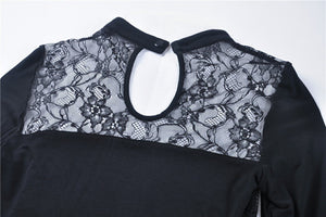 Gothic lace up lacey T-shirt TW220 - Gothlolibeauty