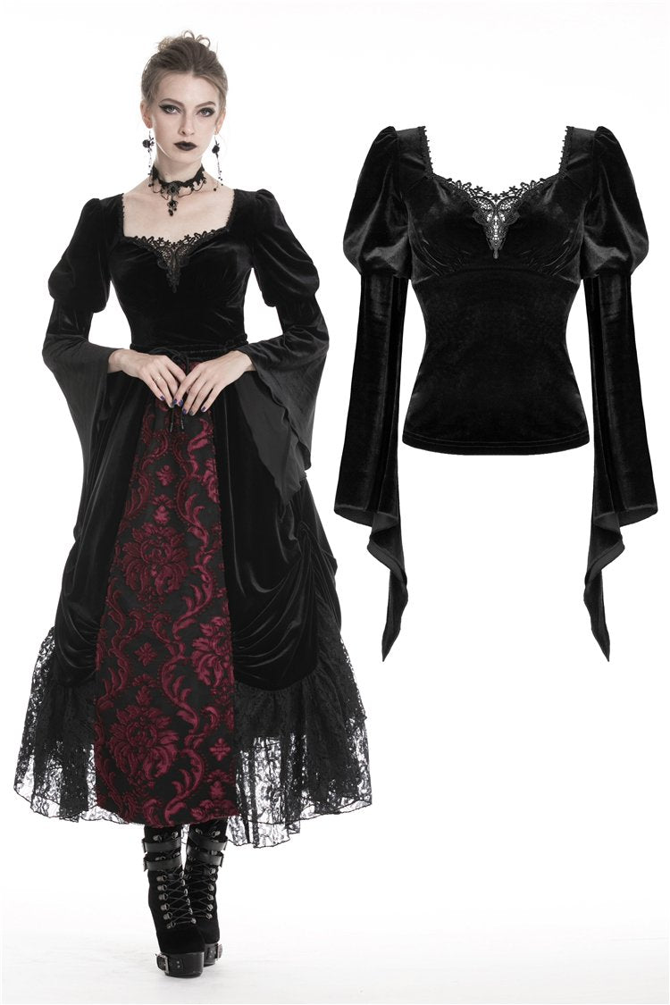 Gothic women velvet warm T-shirt top TW226 - Gothlolibeauty