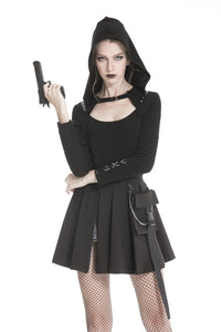 Punk rock hooded long sleeves top T-shirt  TW236 - Gothlolibeauty