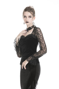 Gothic lady T-shirt with lacey sleeves and necklace design TW238 - Gothlolibeauty