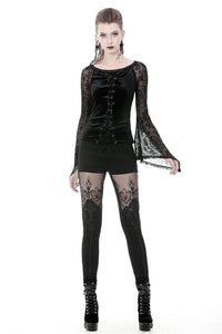 Gothic lace-up velvet T-shirt TW239 - Gothlolibeauty