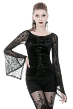 Load image into Gallery viewer, Gothic lace-up velvet T-shirt TW239 - Gothlolibeauty