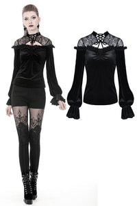 Gothic lace shoulder velvet T-shirt TW242 - Gothlolibeauty