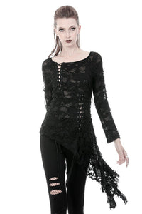 Punk skull back sexy lace-up front ragged T-shirt TW243 - Gothlolibeauty
