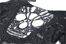 Load image into Gallery viewer, Punk skull back sexy lace-up front ragged T-shirt TW243 - Gothlolibeauty