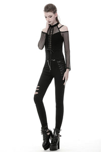 Punk lace-up front off-shoulders T-shirt with net long sleeves TW245 - Gothlolibeauty
