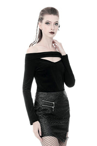Punk off-shoulder hollow chest T-shirt with lace-up back TW247 - Gothlolibeauty
