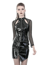 Load image into Gallery viewer, Punk shinning PU zippered Top with sexy net sleeves TW248 - Gothlolibeauty