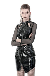 Punk shinning PU zippered Top with sexy net sleeves TW248 - Gothlolibeauty