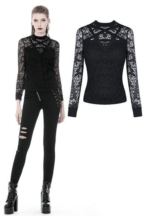 Gothic star on lace T-shirt TW249 - Gothlolibeauty