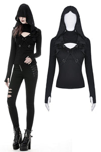 Punk cross connection front hooded women top TW250 - Gothlolibeauty