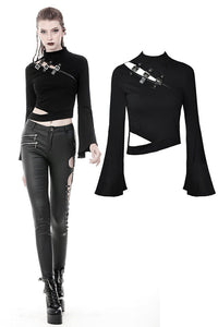 Punk side slit asymmetrical T-shirt TW257 - Gothlolibeauty