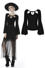 Load image into Gallery viewer, Black three hollow on chest big sleeves T-shirt TW262 - Gothlolibeauty