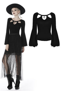 Black three hollow on chest big sleeves T-shirt TW262 - Gothlolibeauty