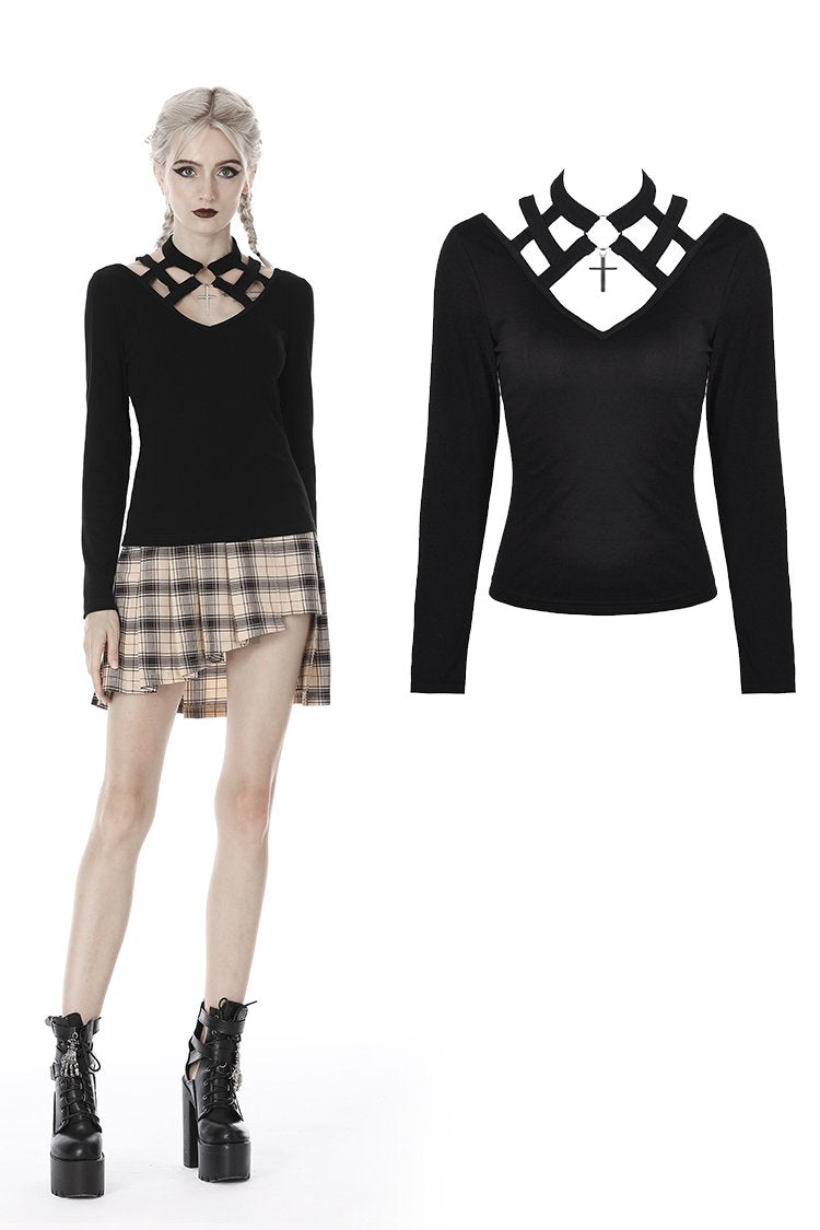 Punk women hollow V collar T-shirt TW267 - Gothlolibeauty