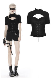 Punk hollow chest lace up short sleeves T-shirt TW270 - Gothlolibeauty