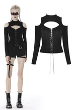 Load image into Gallery viewer, Punk women off shoulder lace up T-shirt TW271 - Gothlolibeauty