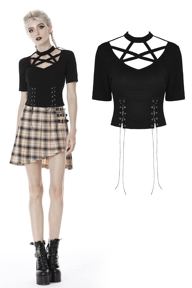 Punk women star hollow chest lace up T-shirt TW274 - Gothlolibeauty
