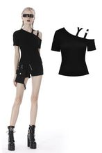 Load image into Gallery viewer, Punk asymmetrical design sexy shoulder T-shirt TW275 - Gothlolibeauty