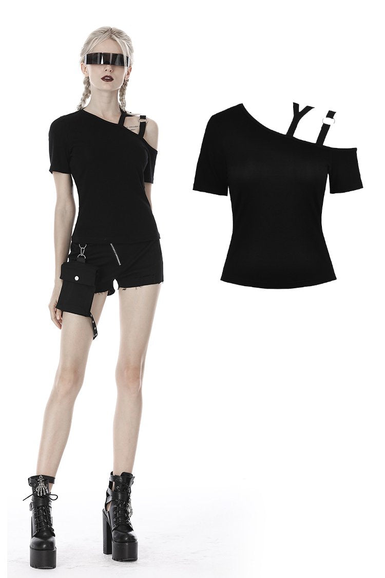 Punk asymmetrical design sexy shoulder T-shirt TW275 - Gothlolibeauty
