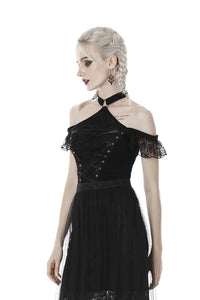 Gothic lace short sleeves lace up chest T-shirt TW281 - Gothlolibeauty