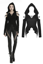 Load image into Gallery viewer, Punk haunted bat hem hooded top  TW291
