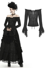 Load image into Gallery viewer, Gothic princess flower lace up off-shouders top TW301