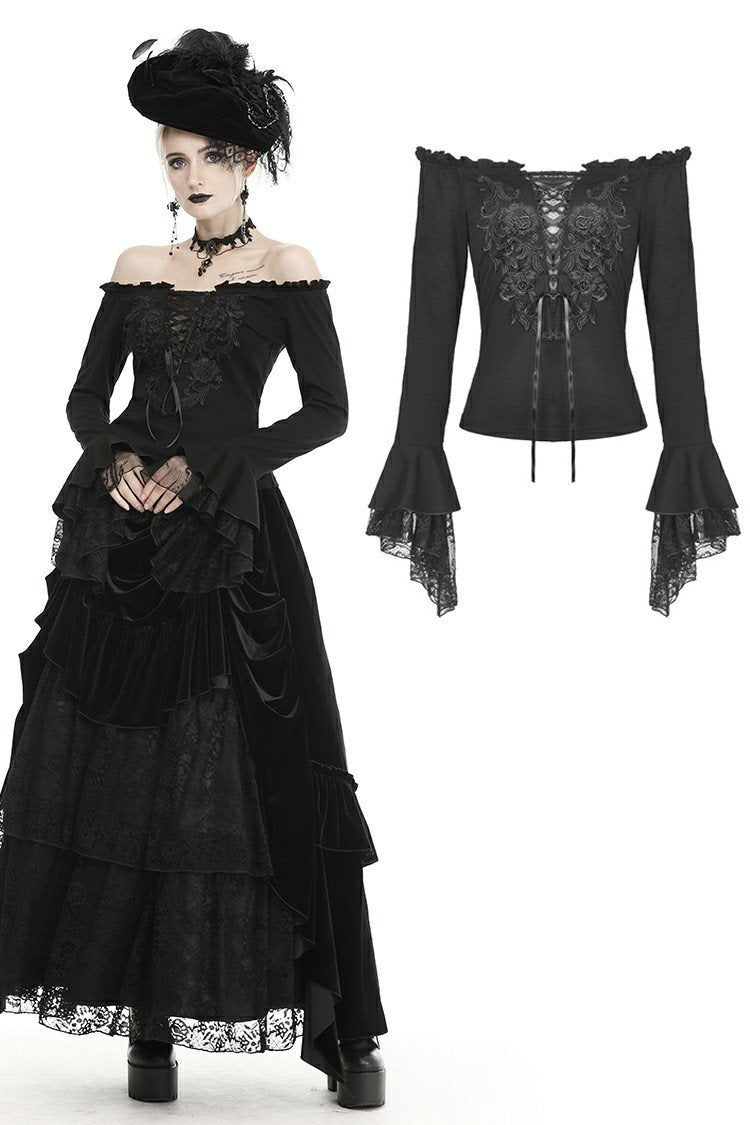 Gothic princess flower lace up off-shouders top TW301