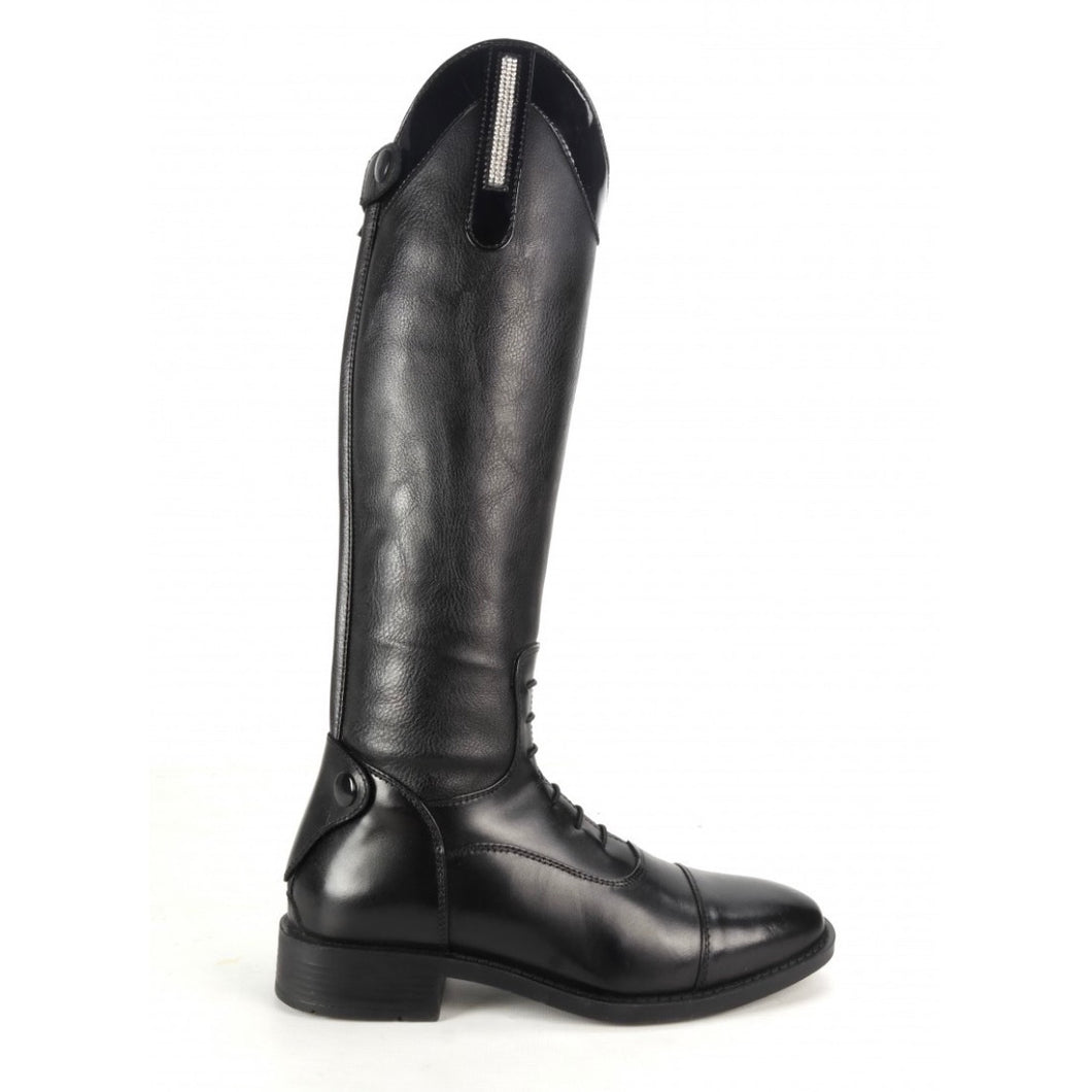 Brogini Kids Como Piccino Black Patent Top Long Boots