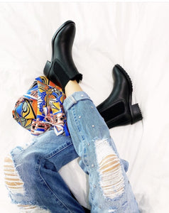 Django and Juliette Savionser Black Leather Ankle Boots