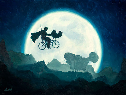 Baby Yoda's Midnight Ride by Artist Bucket - PAPER & CANVAS Available