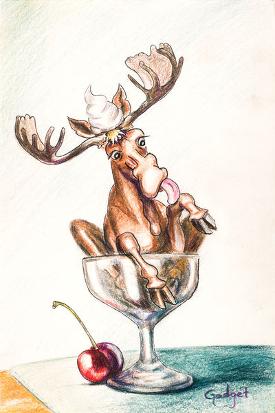 """CHOCOLATE MOOSE"" by artist Gadget - PAPER & CANVAS AVAILABLE"