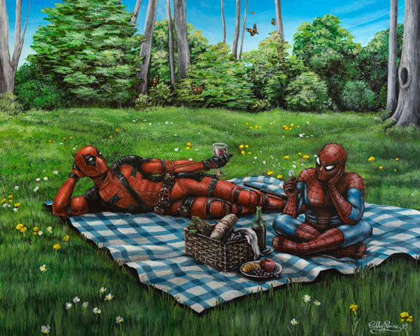 Deadpool & Spiderman's Picnic by Ashley Raine - Paper & Canvas Available