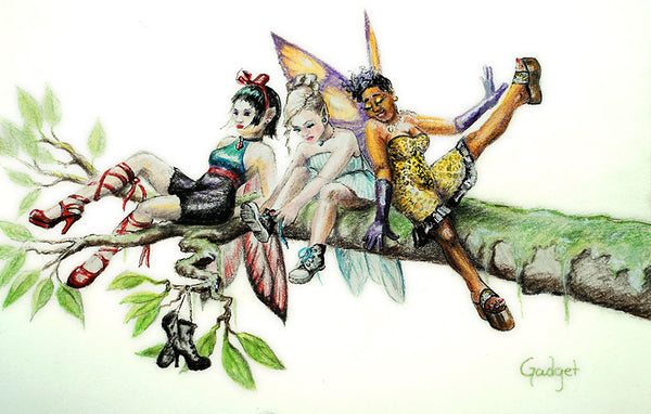 """FASHION FAIRIES"" by artist Gadget - PAPER & CANVAS AVAILABLE"