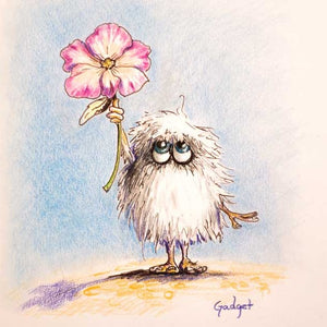 """FIFFLES, THE FRIENDLY FUZZ MONSTER"" by artist Gadget - PAPER & CANVAS AVAILABLE"