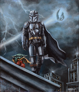 Mandalorian Begins Original Painting by Ashley Raine