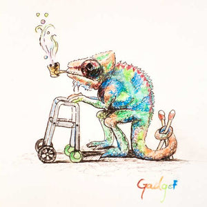 """OLD CHAMELEMAN"" by artist Gadget - PAPER & CANVAS AVAILABLE"