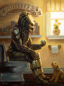 Predator on the Toilet Original Painting by Bucket
