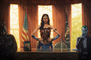 """WONDER WOMAN OVAL OFFICE"" by Artist Bucket - PAPER & CANVAS AVAILABLE"