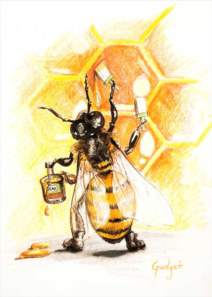 """WORKER BEE"" by artist Gadget - PAPER & CANVAS AVAILABLE"