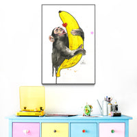 """Banana Love"" by Lora Zombie - Framed Art Block"